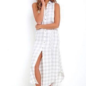 BB Dakota Lance Grey Plaid Maxi Dress